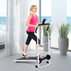 HomCom® Cinta de Andar Manual Caminhadora Dobrável Portátil Ecrã LCD 2 Níveis de Inclinação Carga 110kg Branco
