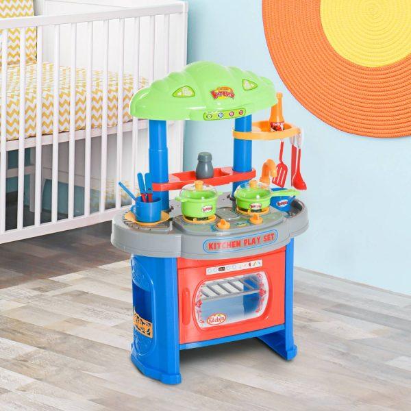 HomCom® Cozinha Madeira Jogo com Luz e 12 Acessórios para crianças - 46x30x67cm