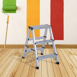 HomCom® Escada de Tesoura Alumínio Dobrável Escada Doméstica de Mão Ambos Lados 3 Degraus Carga 150kg