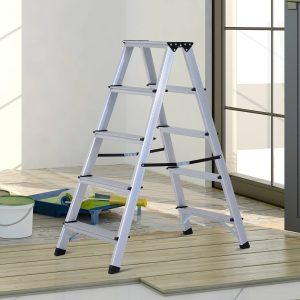 HomCom® Escada de Tesoura Alumínio Dobrável Escada Doméstica de Mão Ambos Lados 5 Degraus Carga 150kg