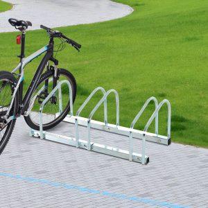 HomCom® Estacionamento 3 bicicletas Aço Prateado 70