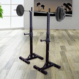 HomCom® Suporte de prateleira ajustável para barras e pesos Carga máxima 150 kg Preto 52 x 80 x 105 - 163 cm