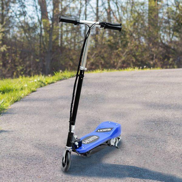HomCom® Trotinete Eléctrico Tipo Scooter com Guiador Ajustável – Cor Azul - 81.5x37x96cm