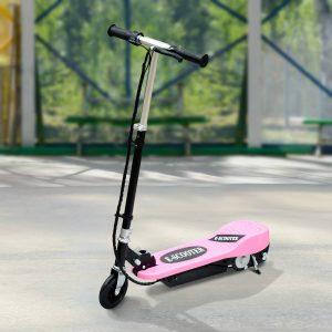 HomCom® Trotinete Eléctrico Tipo Scooter com Guiador Ajustável – Cor Rosa - 81.5x37x96cm