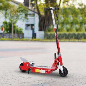 HomCom® Trotinete Eléctrico Tipo Scooter com Guiador Ajustável – Cor Vermelho - 81.5x37x96cm