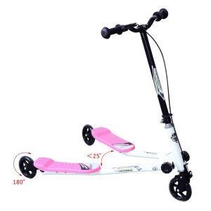 HomCom® Trotinete Scooter de 3 Rodas Dobrável Scooter de Redutor de balanço para Crianças +4 Anos com Travão Guiador ajustável Carga 60Kg Marco Aço Rosa
