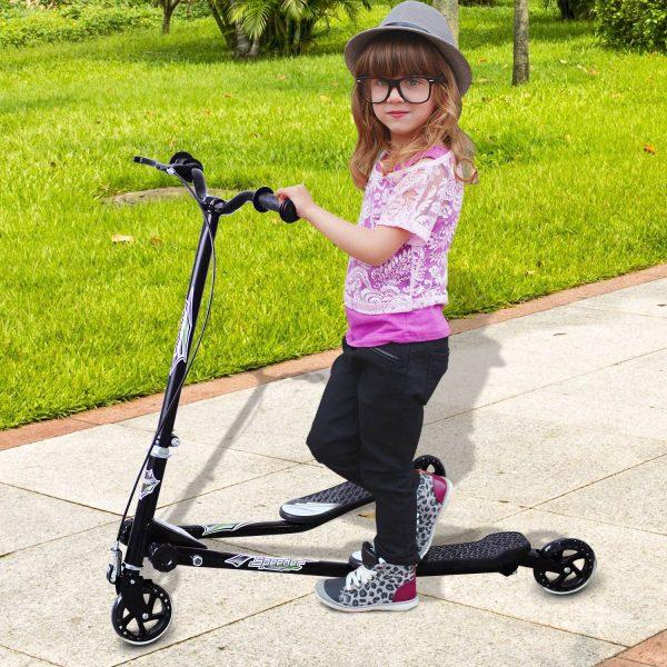 HomCom® Trotinete de 3 Rodas Dobrável para Crianças acima de 4 Anos com Travão Guiador ajustável Carga 60Kg Marco Aço