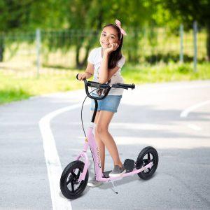 HomCom® Trotinete para Crianças e Adultos 12 Pulgadas Guiador Ajustável com Travão Carga 100kg 120x52x80-88cm Aço Rosa