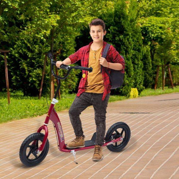 HomCom® Trotinete para Crianças e Adultos Guiador Ajustável com Travão Carga 100kg 120x52x80-88cm Aço Vermelho