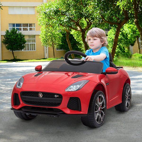 Jaguar F-Type SVR Carro de brinquedo elétrico para crianças acima de 3 anos com controle remoto com música e luzes 6V Carga 25kg 110x65x48cm Vermelho
