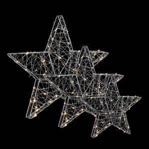Kit De 3 Estrelas Prateadas Com Led. Luz Quente 90 Leds. Fun
