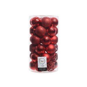 Kit De 37 Bolas Vermelhas Decorativas Para Árvore De Natal