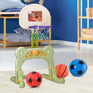 Kit de Desporto 2 em 1 Futebol e Basquetebol Infantil Crianças de a partir de 3 anos inclui 2 Bolas