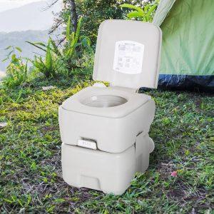 Kleankin Inodoro Portátil Químico 20L com Tampa para Campismo Viagem Caravana Barco com Cisterna Carga 200kg - 41.5x36.5x42cm