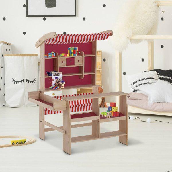 Loja de Brincar Madeira Suporte Posto de Mercado de Brincar para Crianças +3 Anos Revestimento Vermelho 90x70x120cm