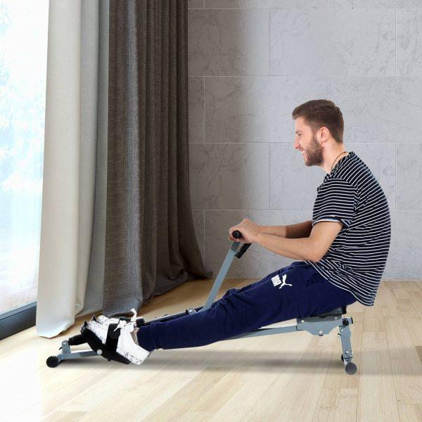 Máquina de Remos Ajustável com Visor para Fitness – Cor cinzento - Aço