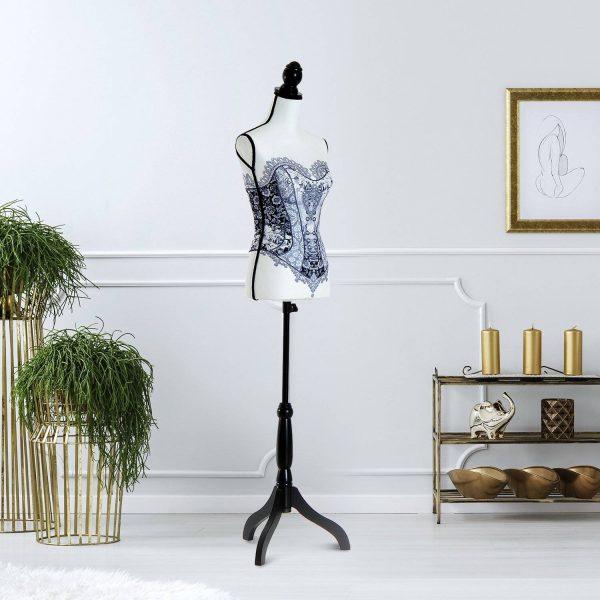 Manequim Feminino de Costura Busto de Senhora Altura Ajustável a 130-168cm