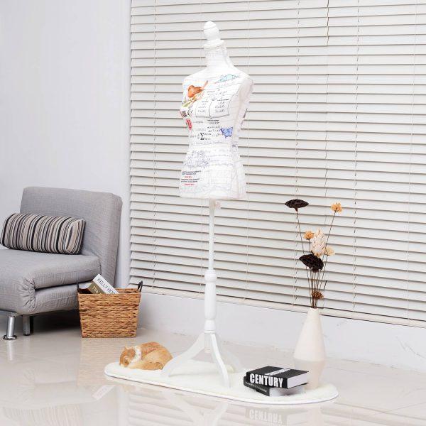Manequim Feminino de Costura Busto de Senhora Altura Ajustável a 130-168cm Branco e multicolorido