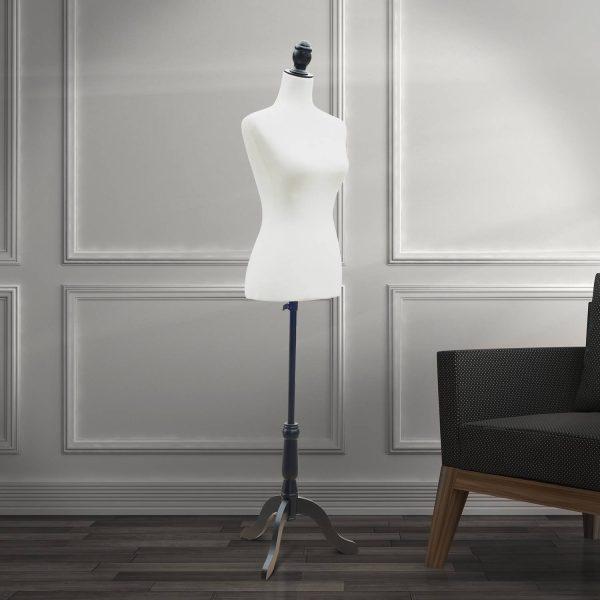 Manequim Feminino de Costura Busto de Senhora para Modistas Exibição Altura Ajustável a 130-168cm Branco