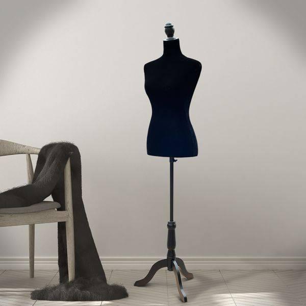 Manequim Feminino de Costura Busto de Senhora para Modistas Exibição Negro Altura Ajustável a 130-168cm