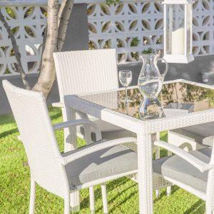Mesa Jardim Rattan / Vidro Branco 160 X 90 X 76 Cm