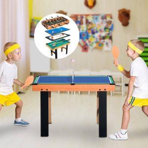 Mesa Multijogo 4 em 1 Inclui futebol mesa Air Hocker Ping-Pong e Bilhar – Jogo de Madeira – 87x43x73cm