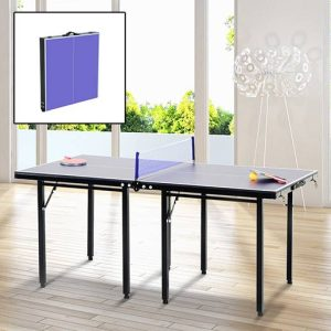 Mesa de Ping Pong Dobrável Infantil – Cor Azul – Aço e MDF – 153x76.5x67cm