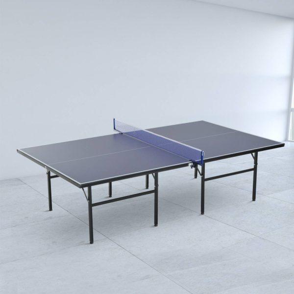 Mesa de Ping Pong Dobrável com Rede – Cor Azul – Aço e MDF – 152.5x274x76cm