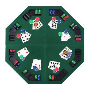 Mesa de Poker Octogonal Dobrável para 8 jogadores Leve 120x120x1