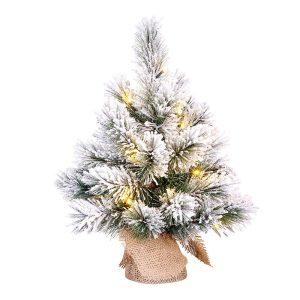 Mini Árvore De Natal Efeito Nevado Com Led Incluído 45X23Cm