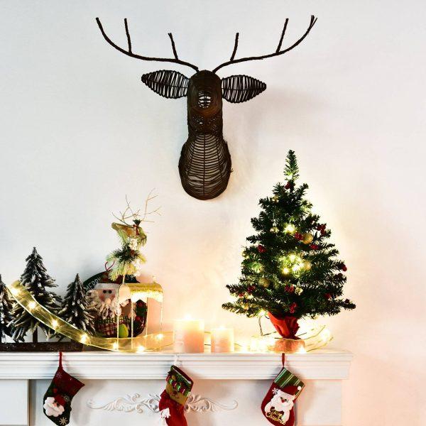 Mini Árvore de Natal 60cm Artificial Decoração de Natal de Pinheiro com Suporte Metálico 73 Ramos PVC Verde