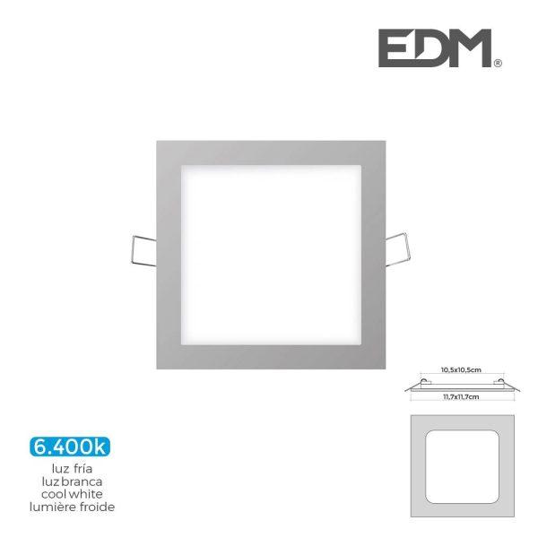 Mini Downlight Led Edm 6W 320 Lumen  Quadrado 12Cm 6.400K Mo