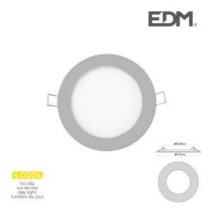 Mini Downlight Led Edm 6W  320 Lumen Redondo 12Cm 4.000K Mol