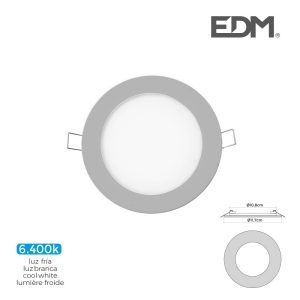 Mini Downlight Led Edm 6W 320 Lumen  Redondo 12Cm 6.400K Mol