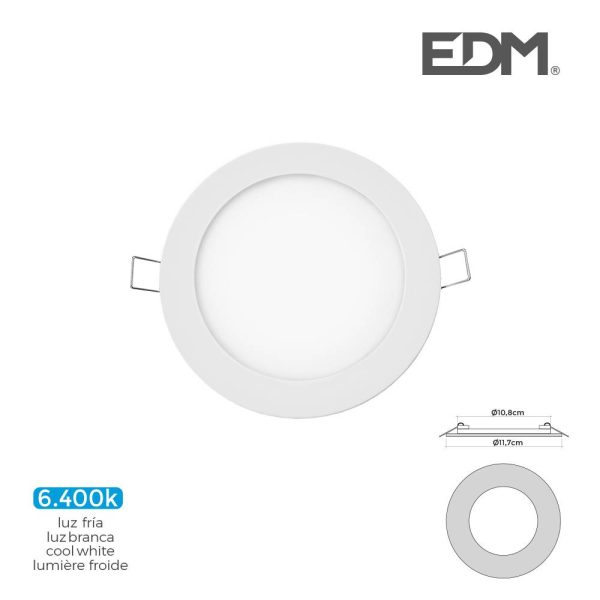 Mini Downlight Led Edm  6W 320 Lumens Redondo 12Cm 6.400K Mo