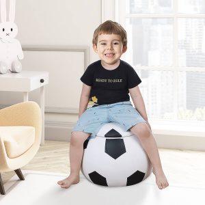 Mini sofá para crianças acima de 3 anos de futebol com armazenamento 51.5x51.5x36