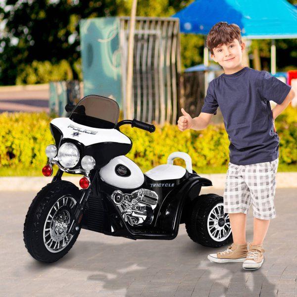 Mota Elétrica Carro Triciclo Crianças + 3 anos– Cor: preto e branco– Metal