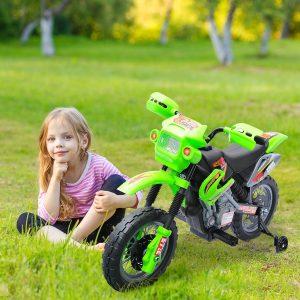 Mota Elétrica Infantil com Bateria com Rodinhas de Apoio - Cor: verde - Material PP