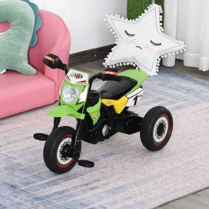 Moto infantil para crianças acima de 18 meses com 3 rodas Música e farol 71x40x51 cm Verde