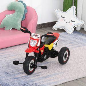 Moto infantil para crianças acima de 18 meses com 3 rodas Música e farol 71x40x51 cm Vermelho