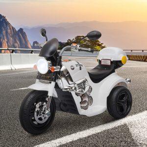 Motocicleta Elétrica Infantil para crianças acima de 3 anos com 3 rodas Buzina Música Faróis 87x46x54 Branco