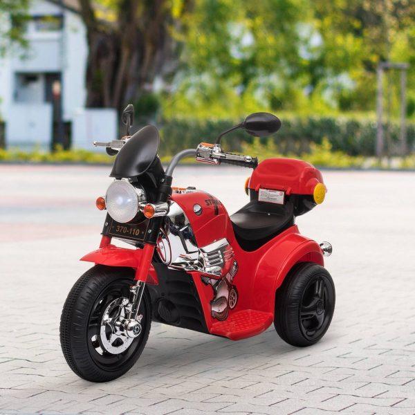 Motocicleta Elétrica Infantil para crianças acima de 3 anos com 3 rodas Buzina Música Faróis 87x46x54 Vermelho