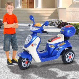 Motocicleta Elétrica Triciclo Criança 3-8 anos com Caixa De Armazenamento Traseira De Metal + PP 108x51x75 cm