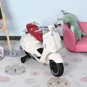 Motocicleta VESPA Elétrica acima de 3 Anos com Faróis Música 2 Rodas Auxiliares 108x49x75 cm Branco