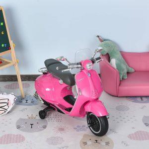Motocicleta VESPA Elétrica acima de 3 Anos com Faróis Música 2 Rodas Auxiliares 108x49x75 cm Rosa