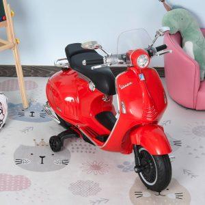 Motocicleta VESPA Elétrica acima de 3 Anos com Faróis Música 2 Rodas Auxiliares 108x49x75 cm Vermelho