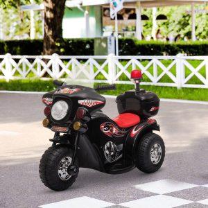 Motocicleta elétrica para crianças acima de 18 meses com faróis buzina música 80x35x52 cm Preto