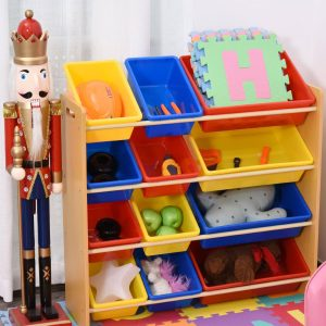 Organizador de estante para livros de brinquedos Rack de armazenamento Quarto infantil 3 níveis 12 caixas 86x26.5x78cm