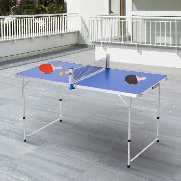 Outsunny Mesa de ping-pong dobrável em altura ajustável de 3 níveis com pás e bolas 160x80x54 / 62 / 70cm Carga máxima 30kg
