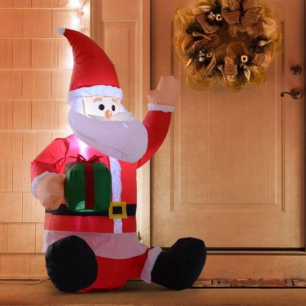Pai Natal Insuflável 1.2m com Prenda Decoração Natal Iluminação LED Ideal Interior Exterior